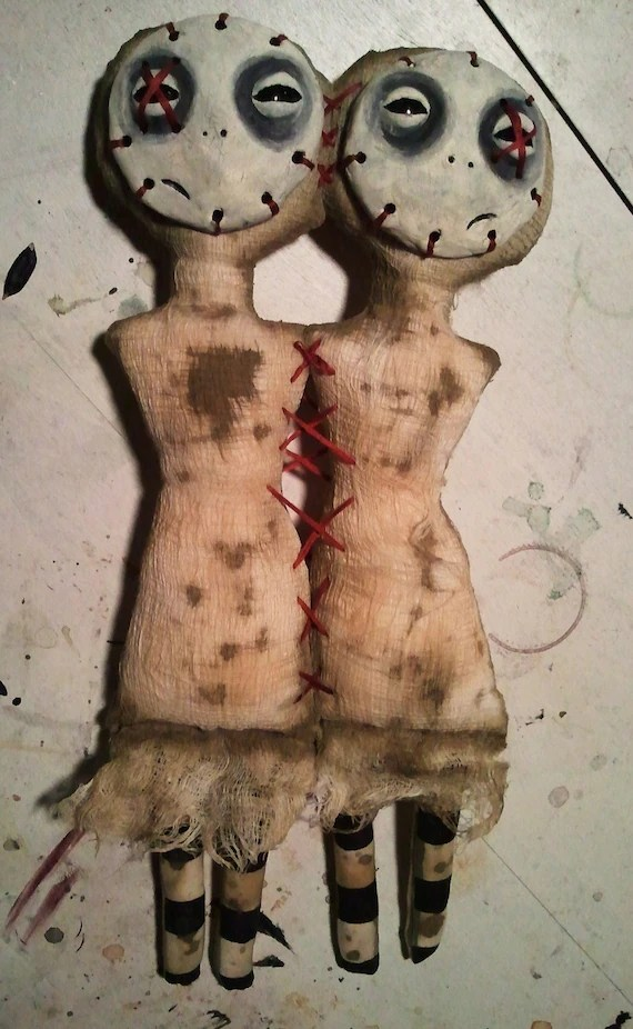 Six & Seven The Conjoined Twin dolls by Macabre