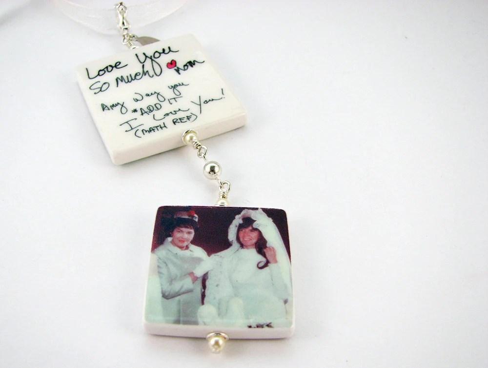 Lg. & Med. Bridal Bouquet Memorial Photo Charms - Double Dangle - Handmade Photo Tiles