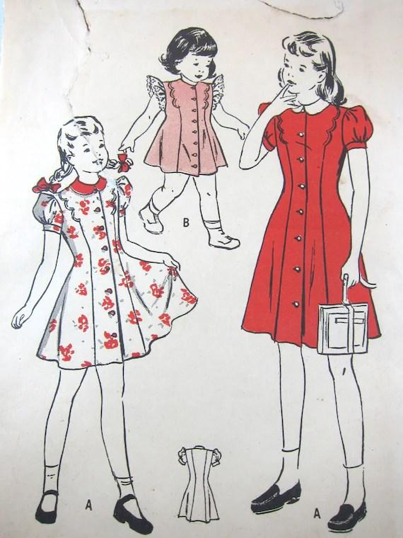 Vintage 40s Girls Princess Style Dress: Butterick 4386, Size Girls 10 (c.1940s)