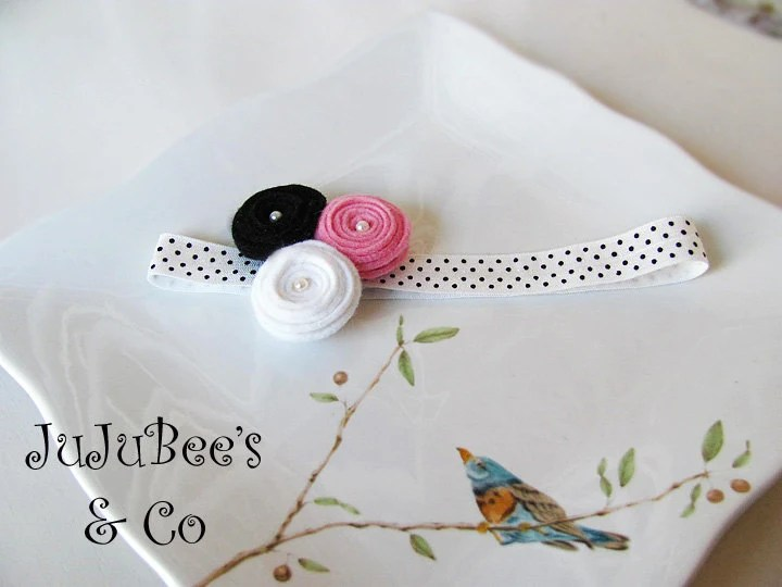 Posies  and Polka Dots Wool Felt Flower Headband Photography Props Baby Shower Gifts