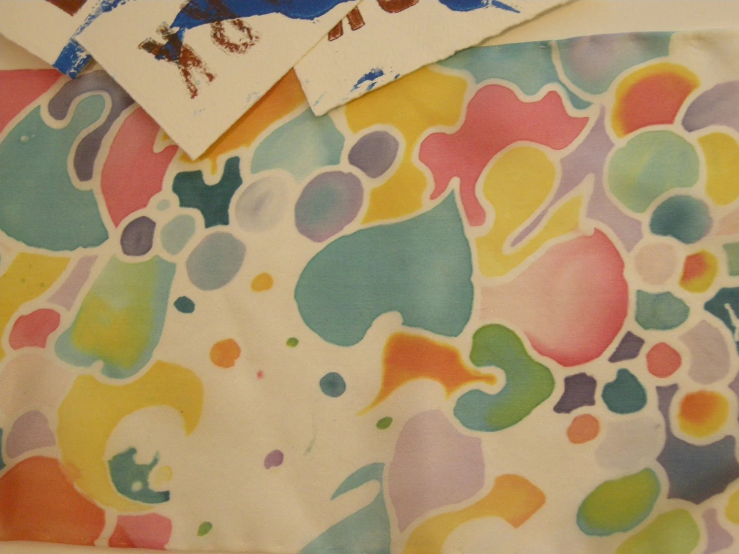 """mini 6x24"""" """"twiggy"""" abstract hand painted silk scarf"""