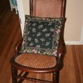Vintage antique rocking chair wicker wooden cherry early american 1900