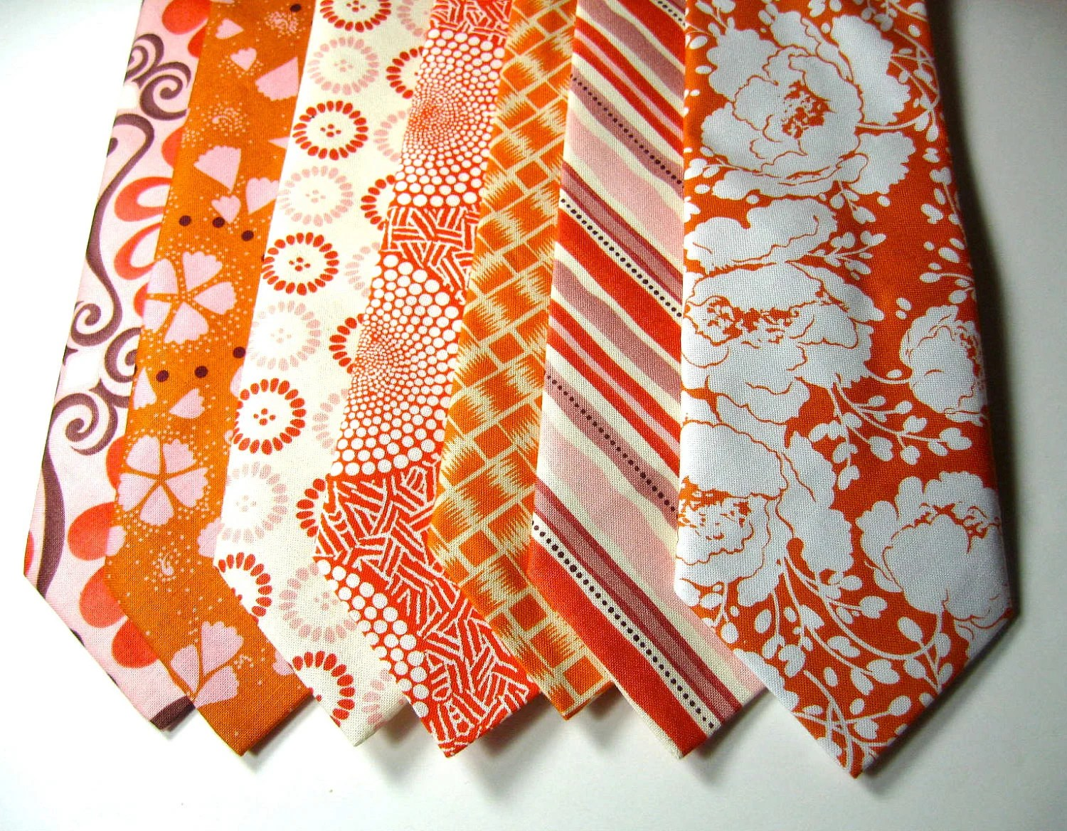 Mens 100% Cotton Orange Neckties For Your Wedding