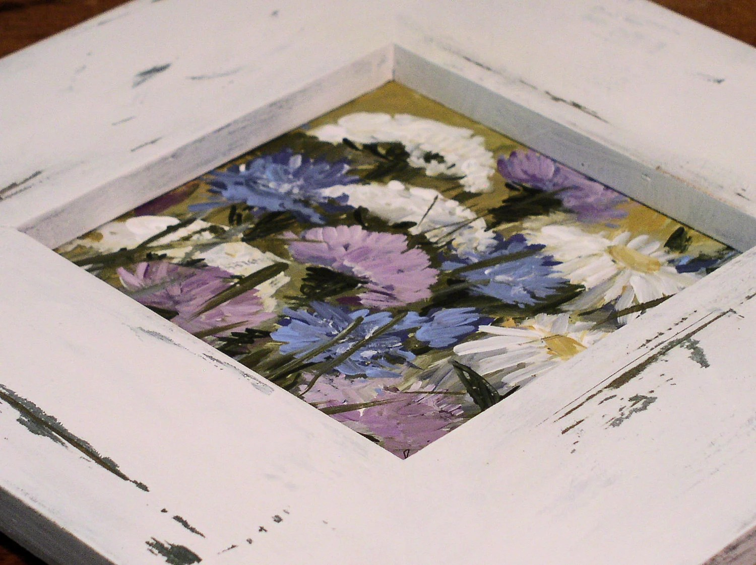 Shabby Chic Framed Cottage Art Thistles and Lace
