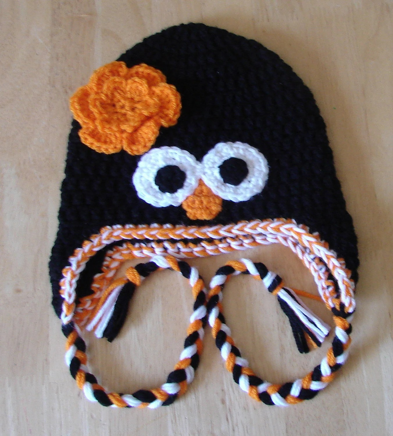 20% OFF - Peeking Penguin Earflap Hat with detachable flower available