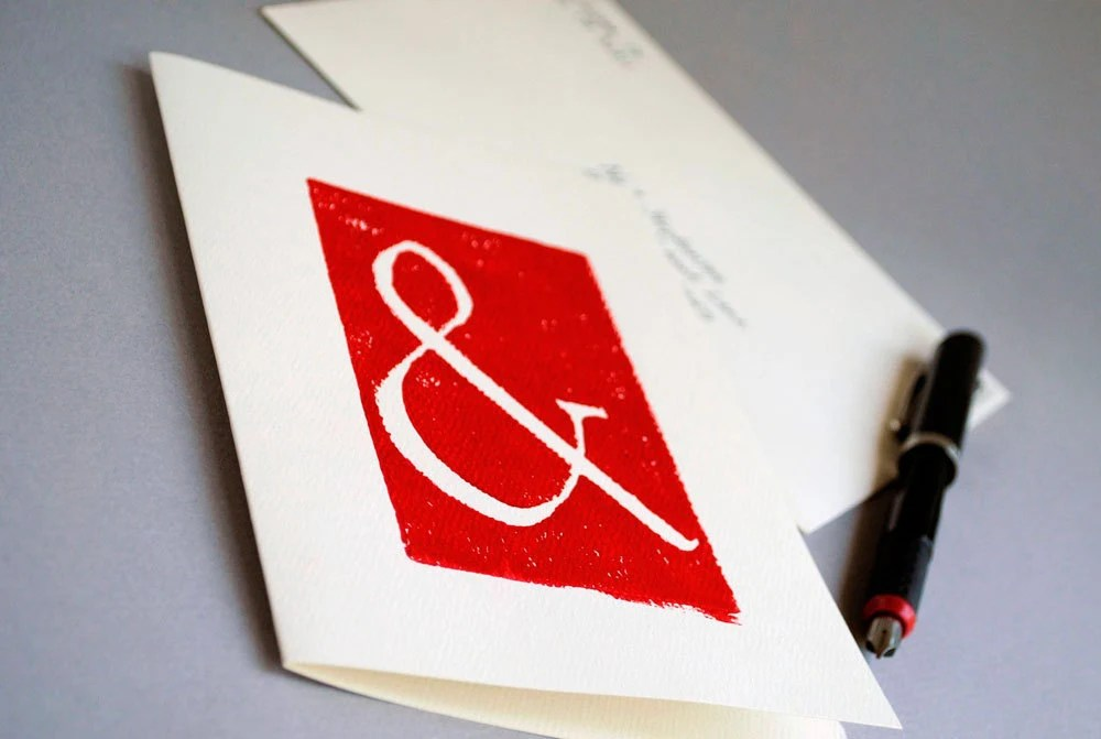 Red Ampersand Block Print Card Linocut Notecard 5 x 7 inches