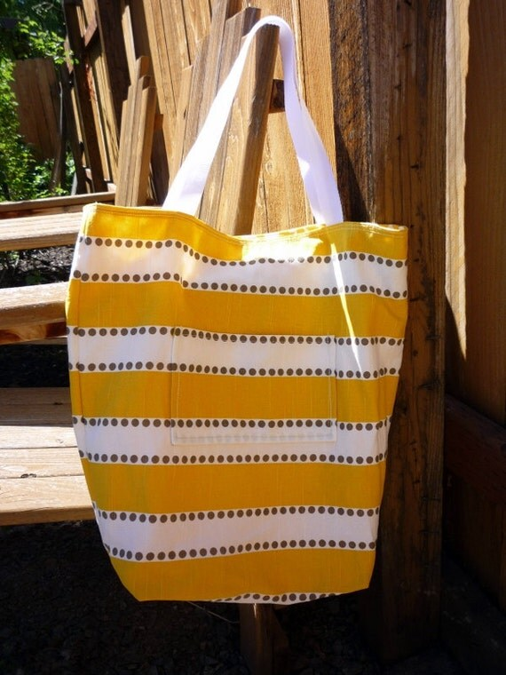 Reversible Medium Yellow Tote Bag with Pocket