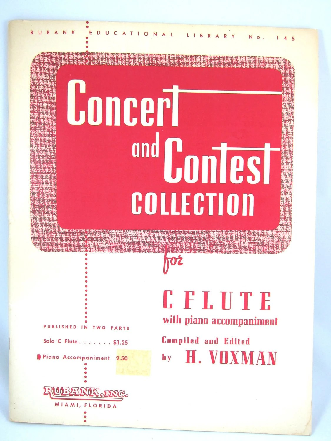 Vintage Piano Sheet Music - Concert and Contest Collection for C Flute (1946)