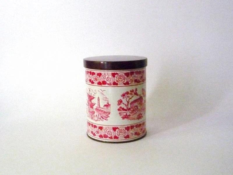 Vintage Metal Tin with Dutch Patterns
