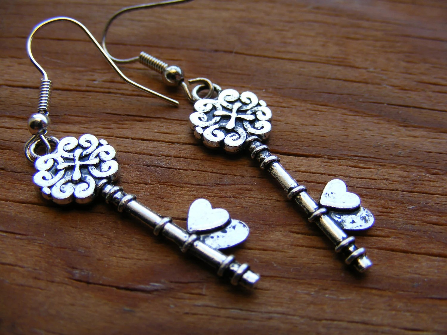 Silver Key To My Heart Earrings
