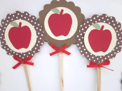 Fall Apple Cupcake Toppers