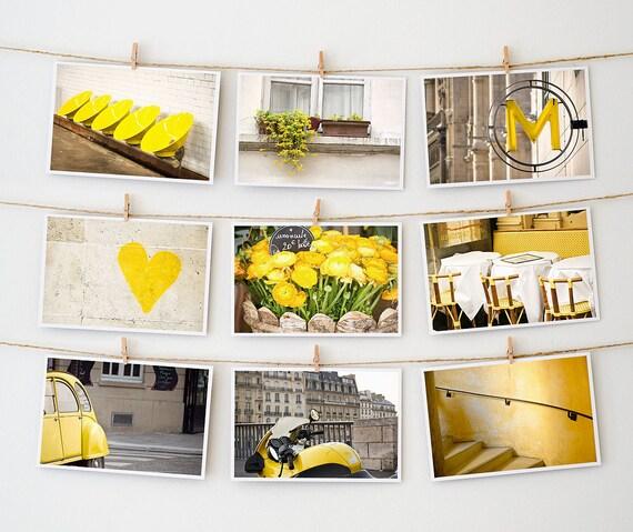 BOGO, Paris Postcard Collection, Yellow - Paris Photography - Fine Art Photography -- Paris Photos - French Photo Art - Paris Art