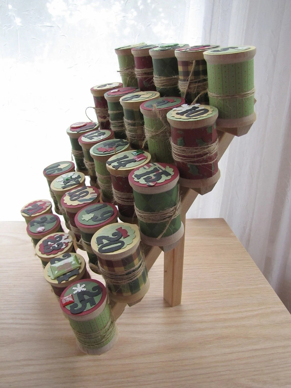 Advent Calendar - Wooden Spool Thread Holder  - Country Holiday Countdown