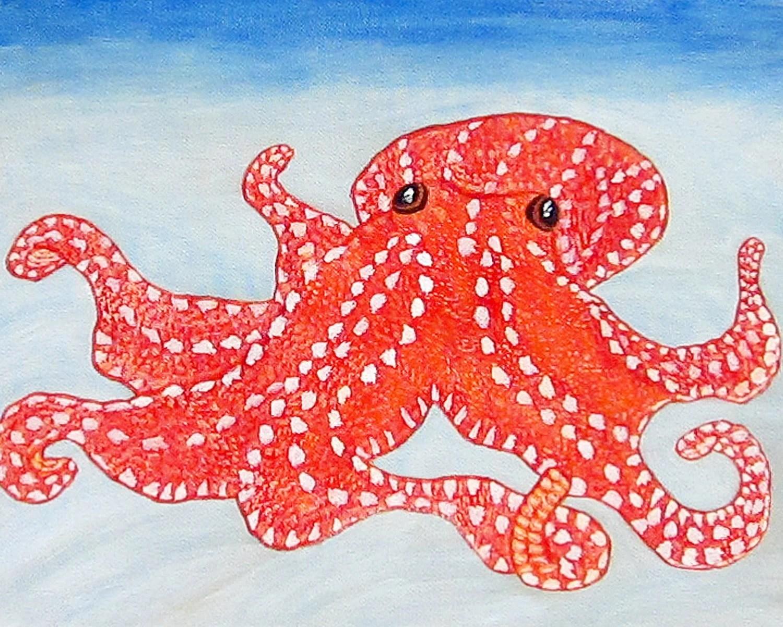 "Octopus nursery wall art, ocean nursery art, octopus art - ""Watching The Sea"" - archival print"