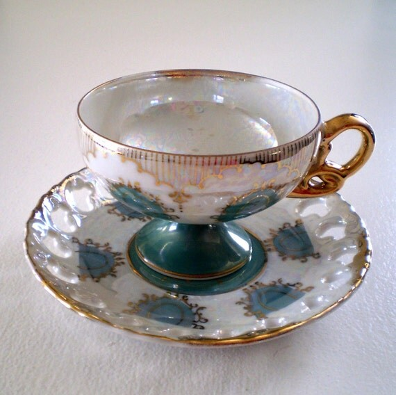 Unique Fabulous Vintage Pearl Iridescent Regency Pattern Fine Bone China Matching Footed Teacup and Saucer in Gold and Green