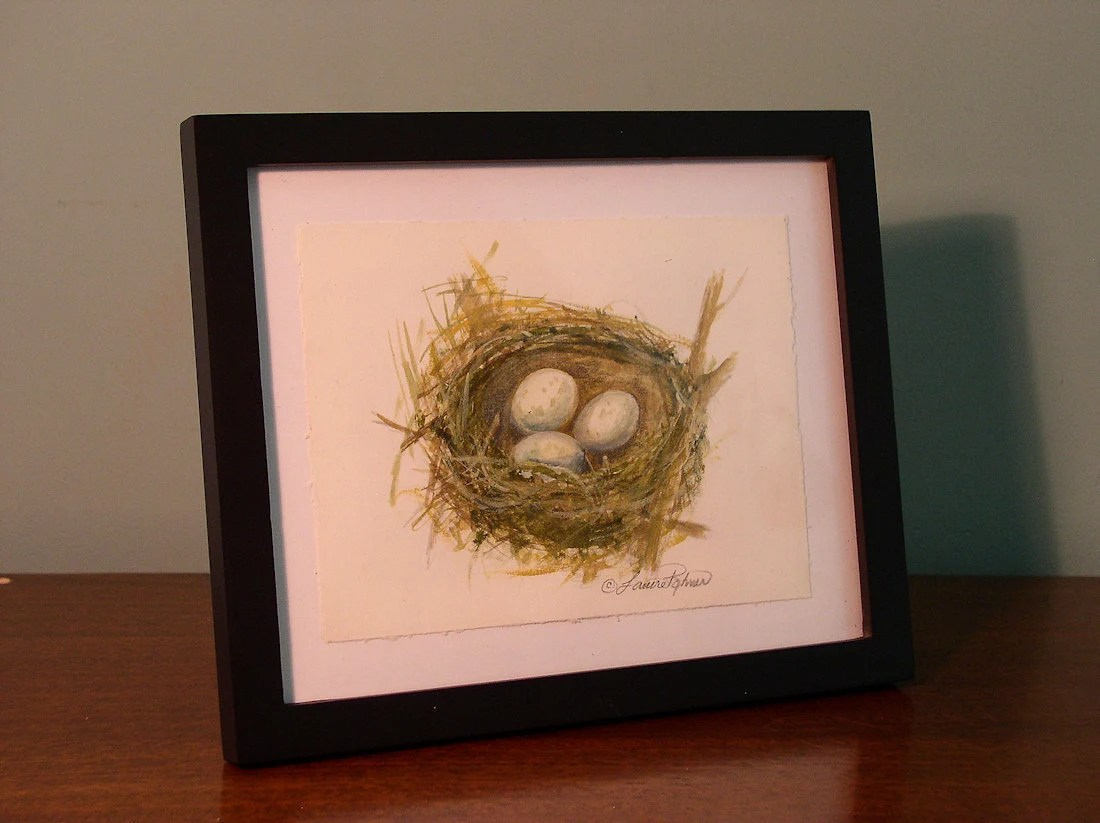 Nature Original Illustration Painting Nest No.2 Unframed 9 x 6