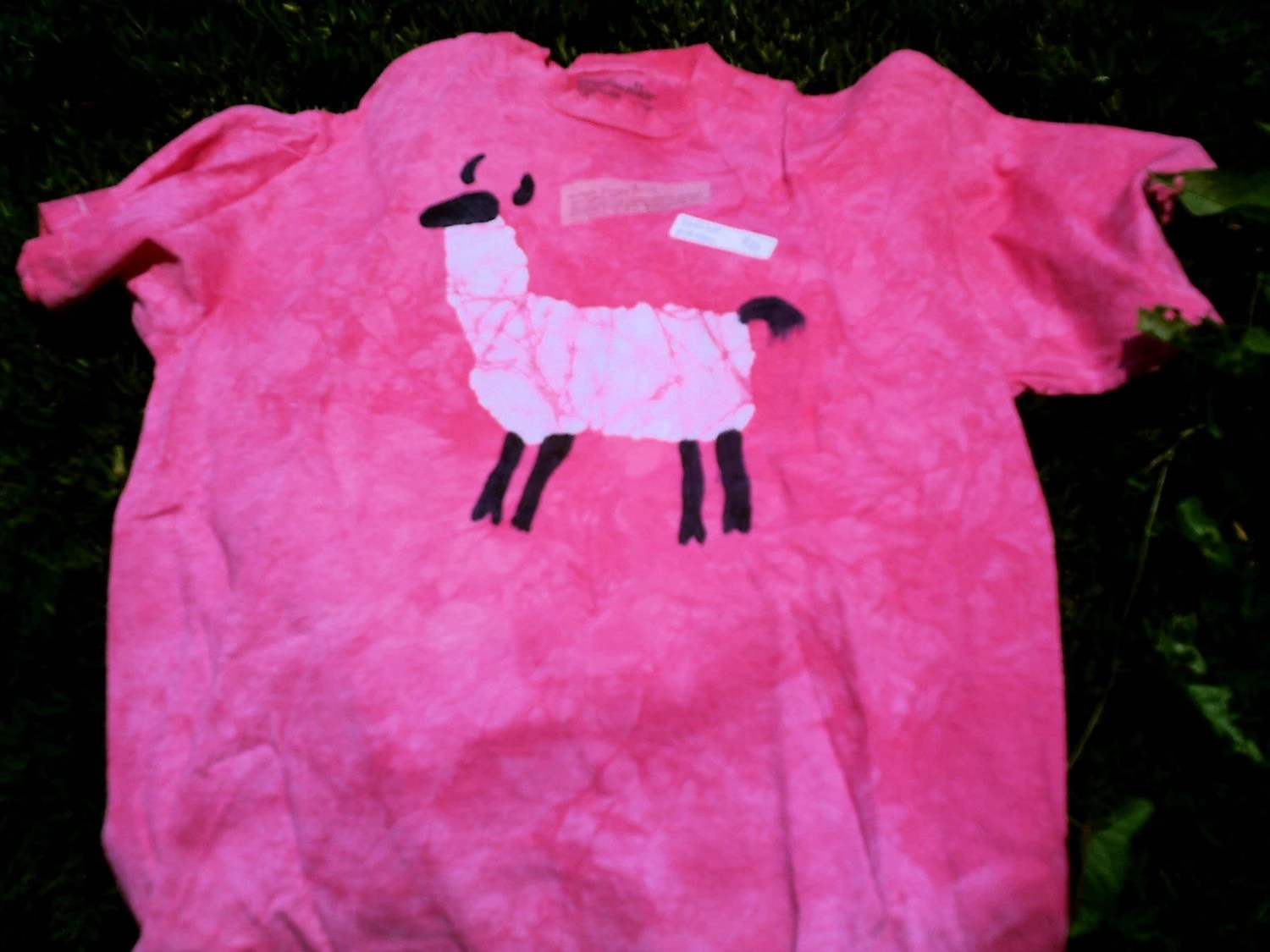 pink batik llama shirt, youth medium
