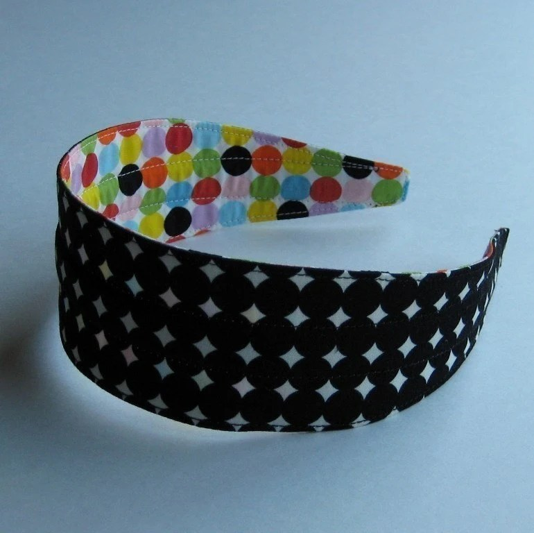 Black and White Mod Dots Flexible Fabric Headband
