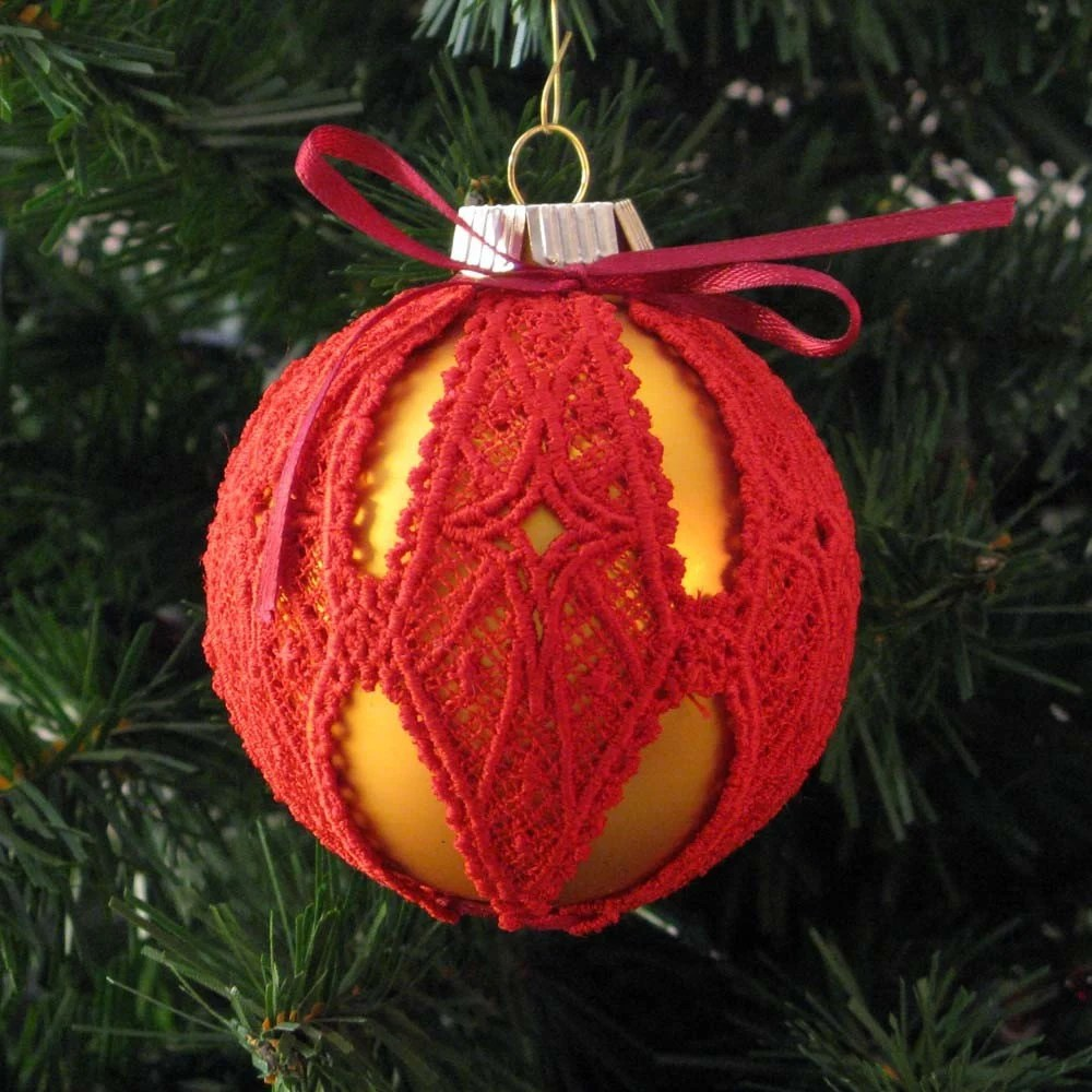 Red/Gold Starburst Lace Embroidered Ornament