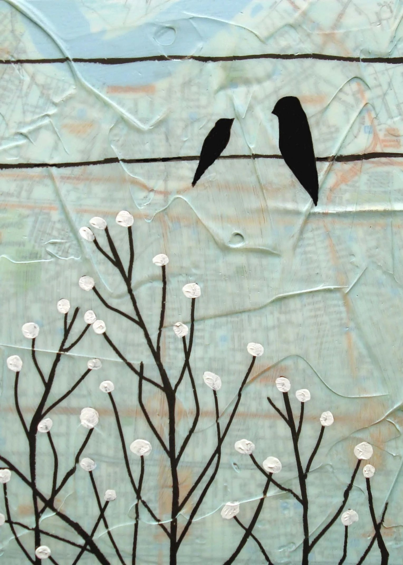 Birds and Branches with Red Buds
