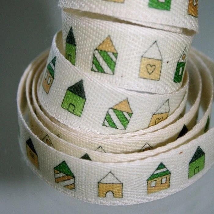 Teeny Green Houses Cotton Tape