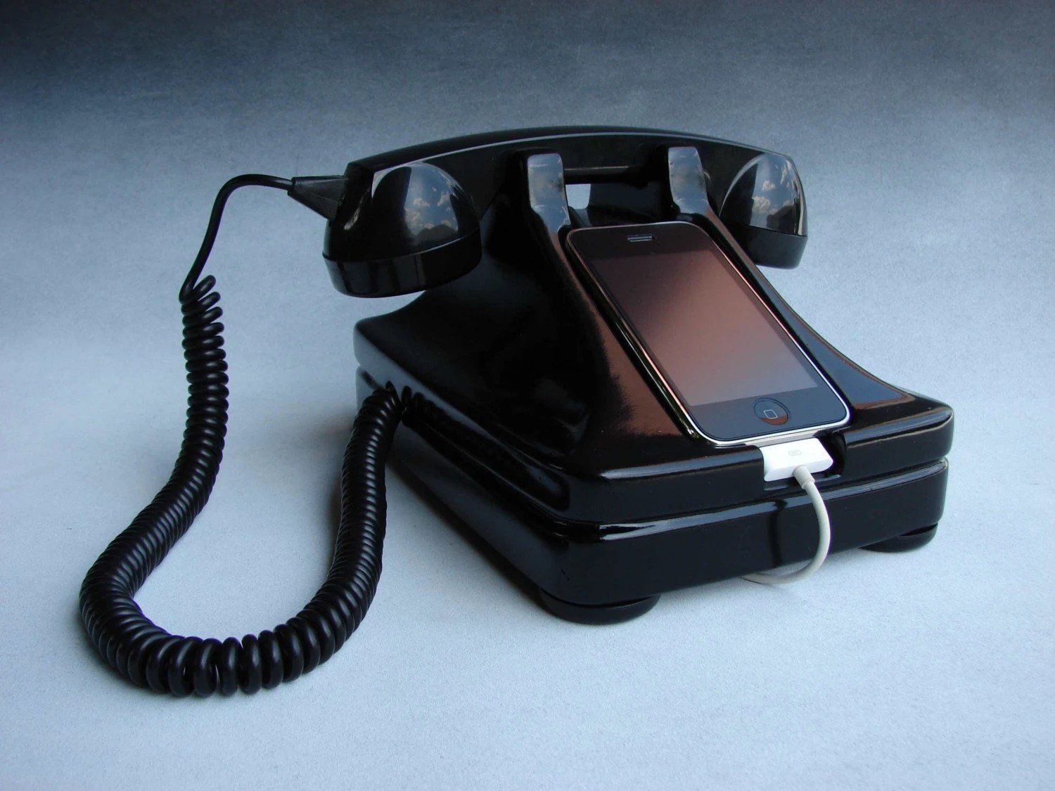 hight resolution of this may be the mother of all retro inspired iphone accessories because it is an actual retrofitted rotary phone aw how quaint turned into a base