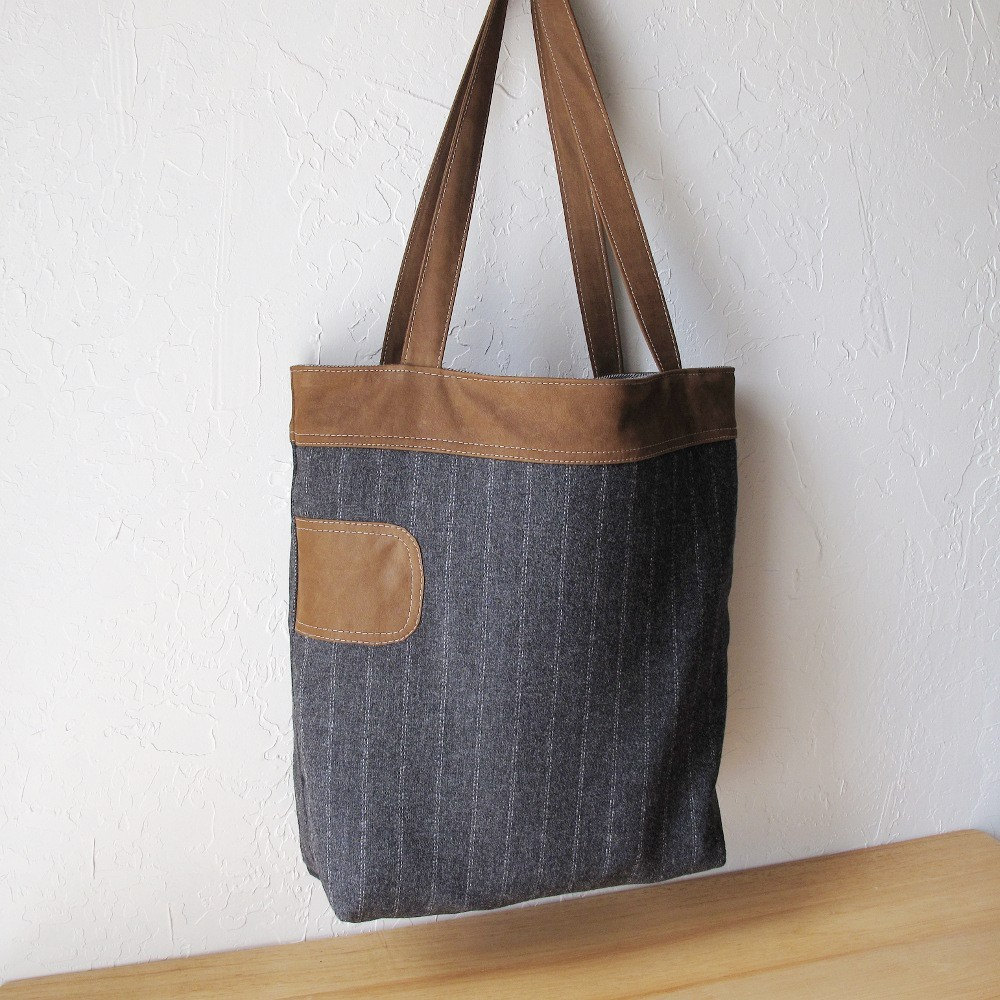Pinstripe Wool and Leather Tote