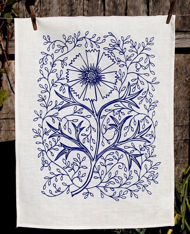 linen, tea towel, Flowerpress, spincushions