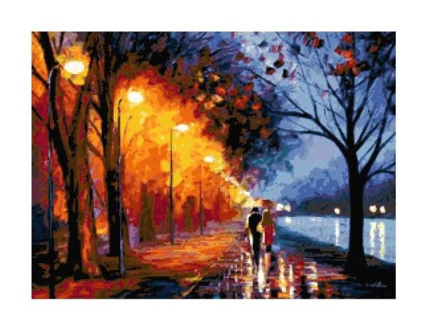 Couple Walking In Park Rain Cross-stitch Pattern