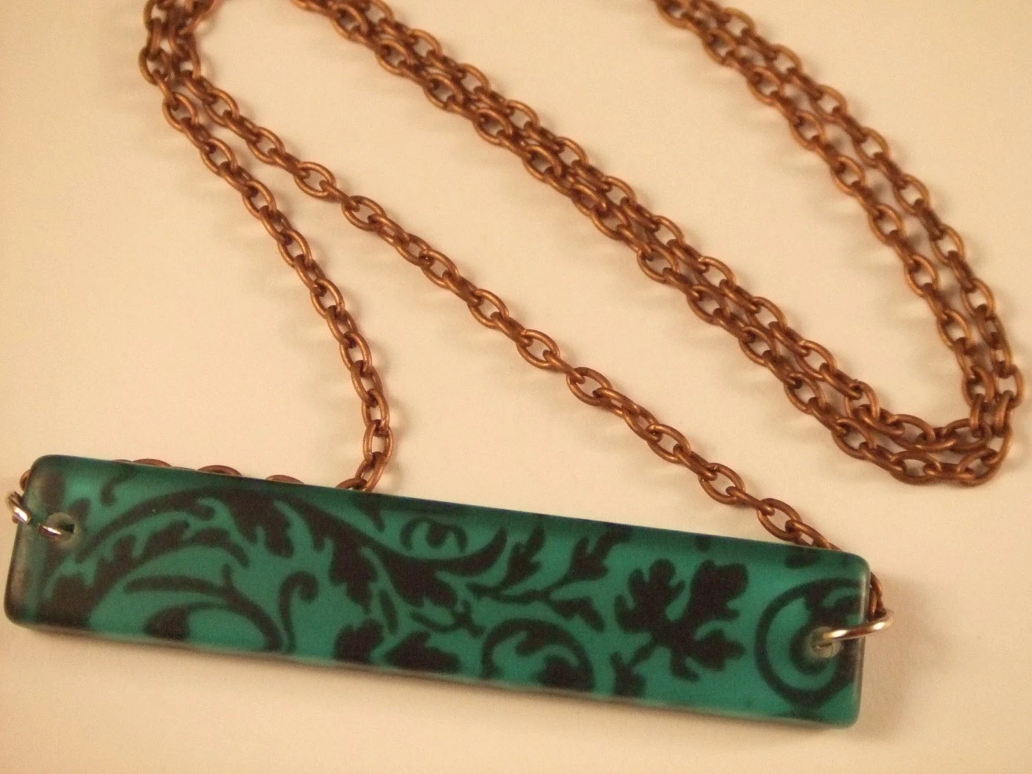 Teal and Black Filigree Pendant Necklace