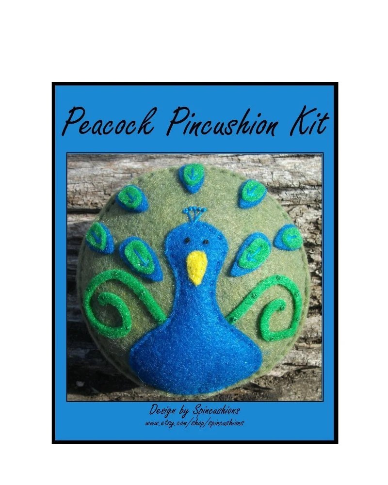 peacock kit, pin cushion, pincushion, spincushions