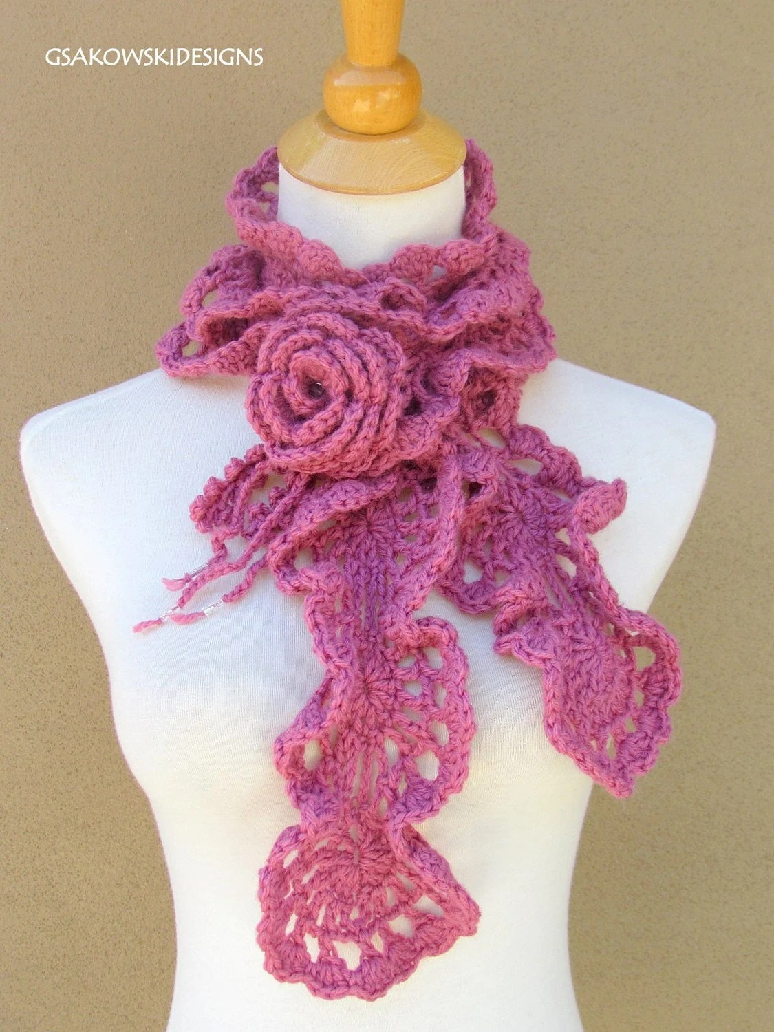 CROCHET FREE PATTERN ROMANTIC SCARF