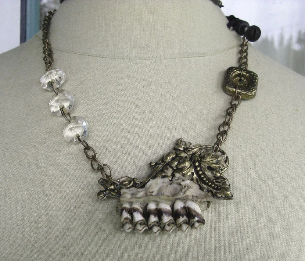 teeth, epoxy clay, found object, assemblage, jewelry, taxidermy