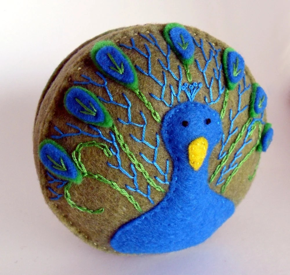 embroidered peacock, pin cushion, pincushion handmade, spincushions, felt