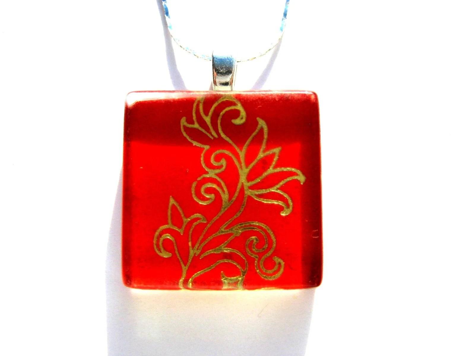 golden flower on red