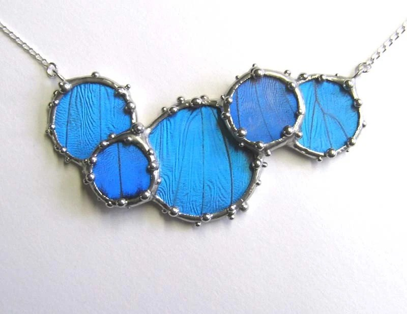 Deluxe Morpho Cluster Necklace