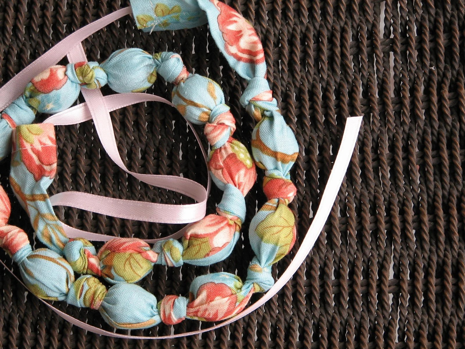 Wandering Blossom Perfect for Spring Fabric and Bead Necklace