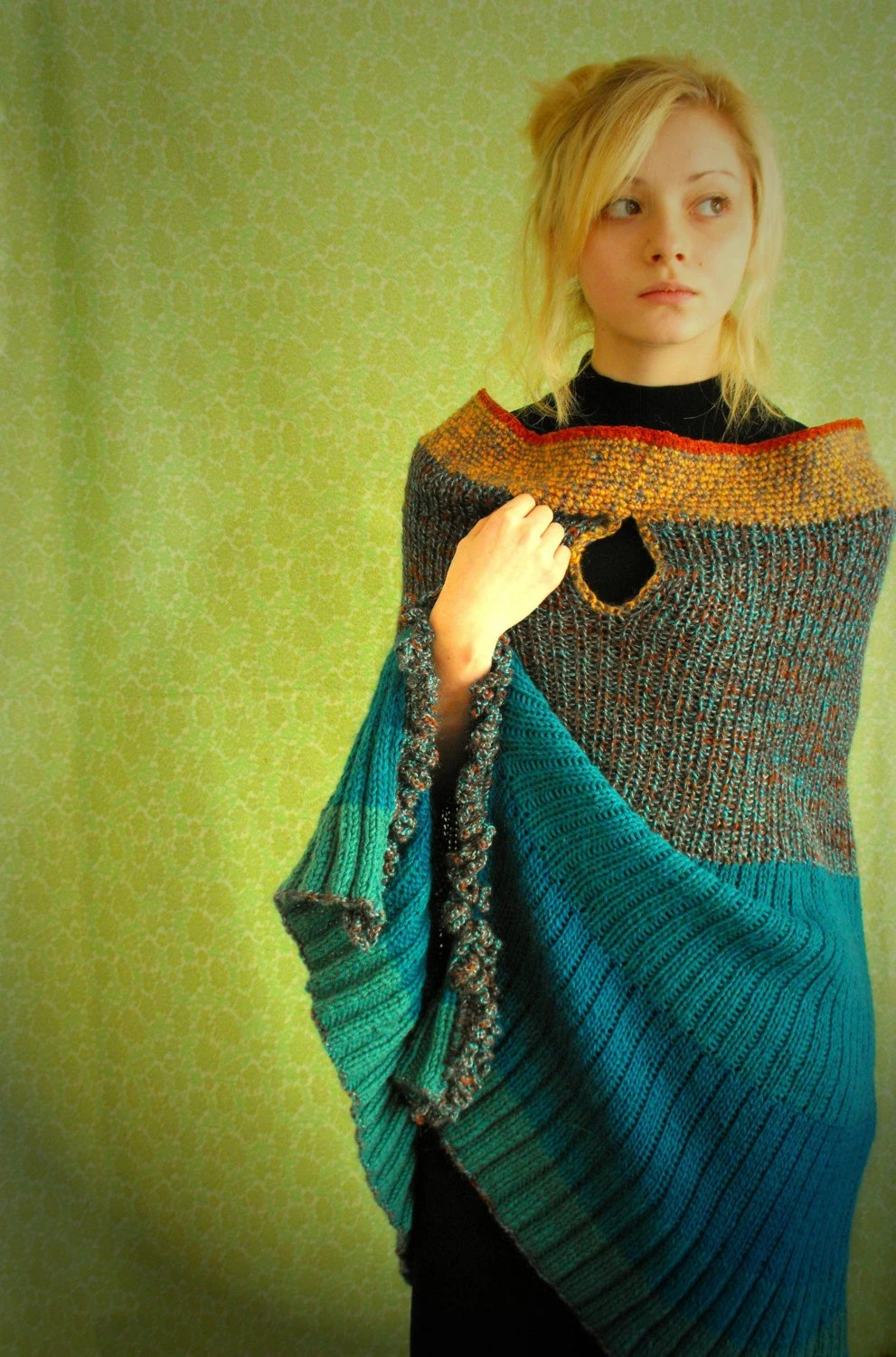 You are BEAUTIFUL--blueish green-jade-ocker- brownish mix- stripes knitted LONG cape