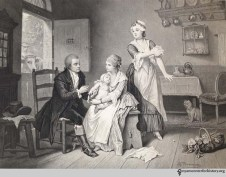Edward Jenner (1749–1823) performing his first vaccination upon a country boy, James Phipps, using matter from the arm of milkmaid, Sarah Nelmes, who had contracted cow-pox, May 14, 1796. Engraving by C. Manigaud after a drawing by E. Hamman.