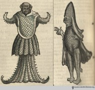Zoolander not giving you the merman costume inspiration you're looking for? How about the merman from Gesner's Historiae animalium, vol. 4, 1558 (left). His Tolkein-esque friend (right) might also delight.