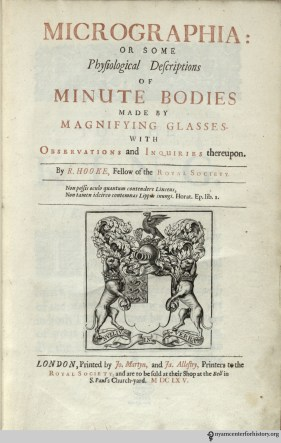 In Micrographia, Robert Hooke made ſignificant contributions to the field of microſcopy, but here we look at the title page though a different lens. Pleaſe take this opportunity to ſtudy and compare the roman and italic forms of the ſ. The ſociety does not take an official ſtance on which form we prefer, finding the playful elegance of the italicized character equal to the handſome ſtatelineſs of its roman counterpart.