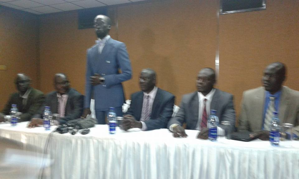 Mr. Mabior Garang De Mabior (standing) representing the SPLM-IO and Mr. Jokina Nyikayo (sitting left to Mabior) during a press conference during a past meeting in Nairobi, Kenya(Photo: file)