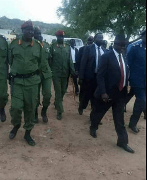 Lt. Gen. Gabriel Duop Lam alongside Dr. Riek Machar and other senior officers of SPLM/SPLA-IO in Juba, 2016(Photo: file)