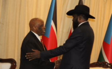 JMEC Chairman, Festus Mogae meets Salva Kiir at his Palace(Photo: JMEC)