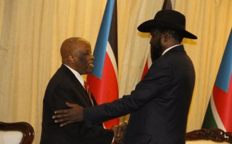 JMEC Chairman, Festus Mogae meets Salva Kiir at his Palace(Photo: JMEC)