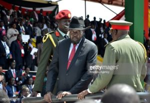 President Salva Kiir caught on camera staring into Gen. Paul Malong eyes on independent day in Juba(Photo: file)