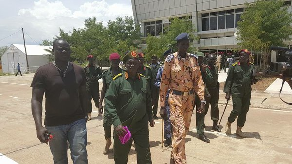 Lt. Gen. John Jok Gai walking with Lt. Gen. Simon Gatwech Dual after their arrival in Juba in 2016. Gen. Jok resumed operations in July 2016 and continued to lead SPLA-IO in Central Equatoria(Photo: file)