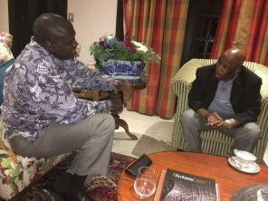 Riek Machar and JMEC Chair Festus Mogae meeting in Pretoria, South Africa