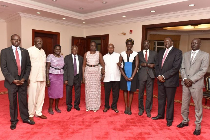 Ugandan President, Yoweri Museveni, meeting South Sudan's SPLM Leaders led by Rebecca Nyandeang and Oyay Deng Ajak at Entebe, Uganda, on April 5th 2017(Photo: file)