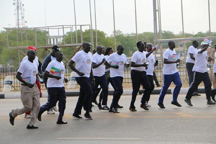 Members of Salva Kiir government running a marathon with Ethiopian athlete in Juba, South Sudan....